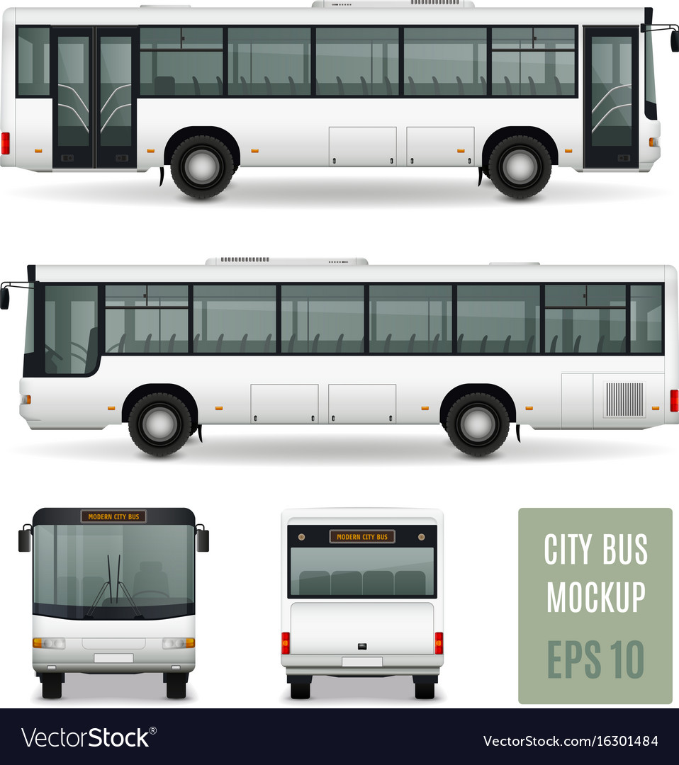 City bus realistic advertising template vector image