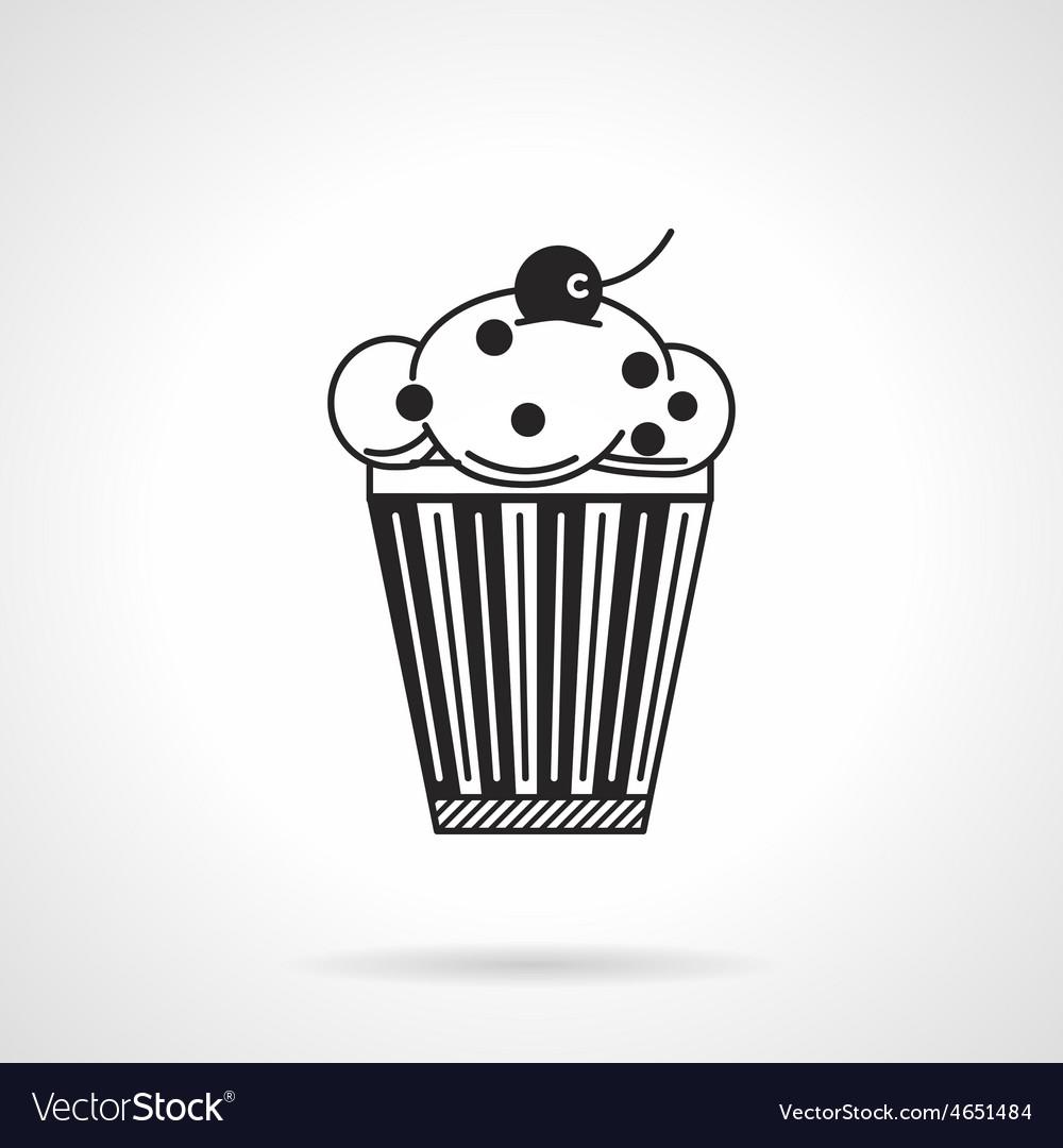 Cupcake with raisins black icon vector image