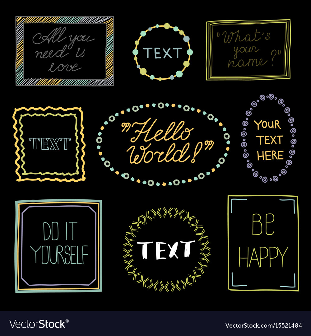 Doodle frames with text - hand drawn vector image