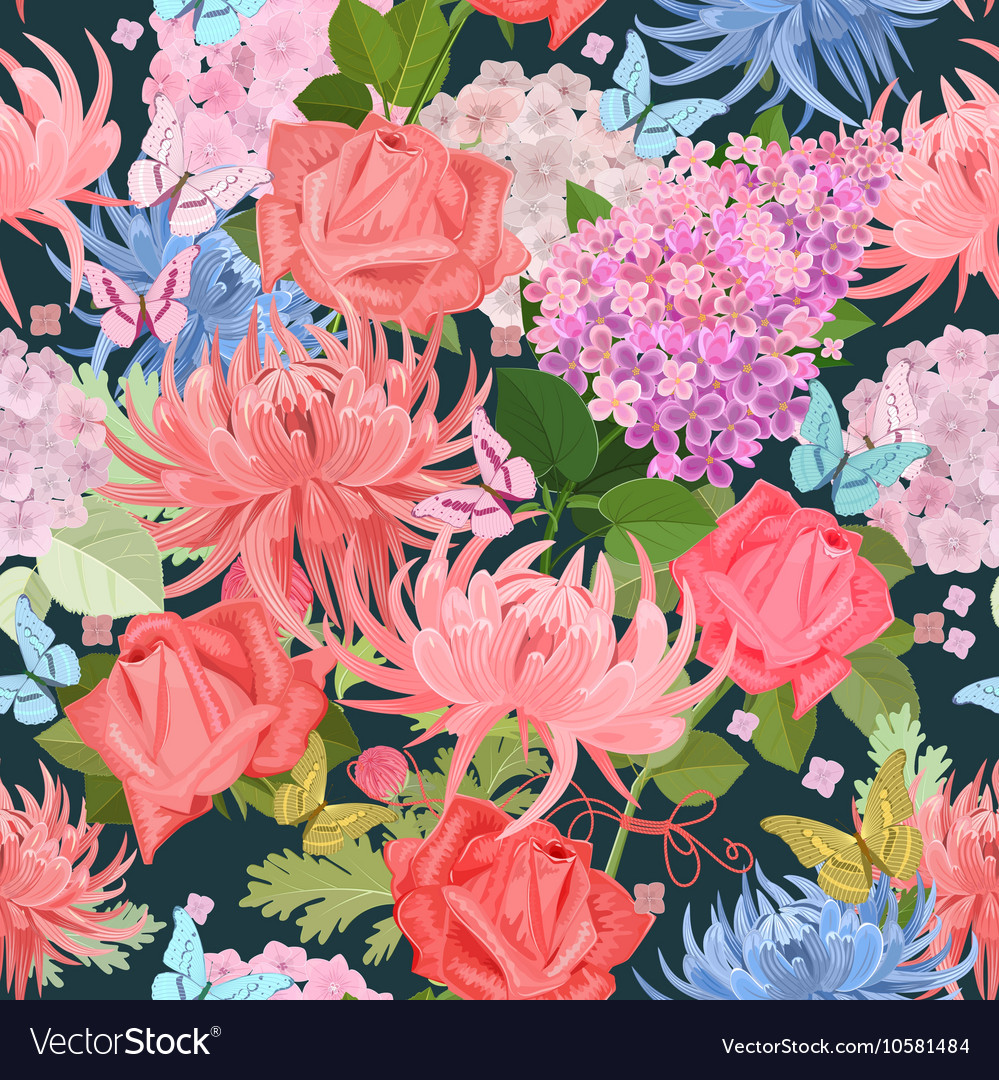 Fashion seamless texture with lovely flowers and