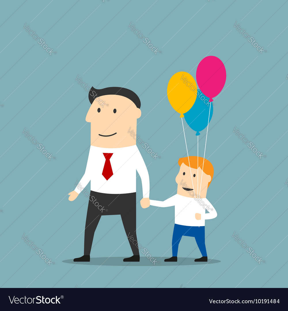 Father and son with balloons walking holding hands