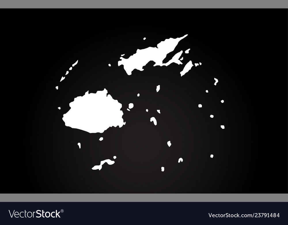 Fiji Islands Black And White Country Border Map