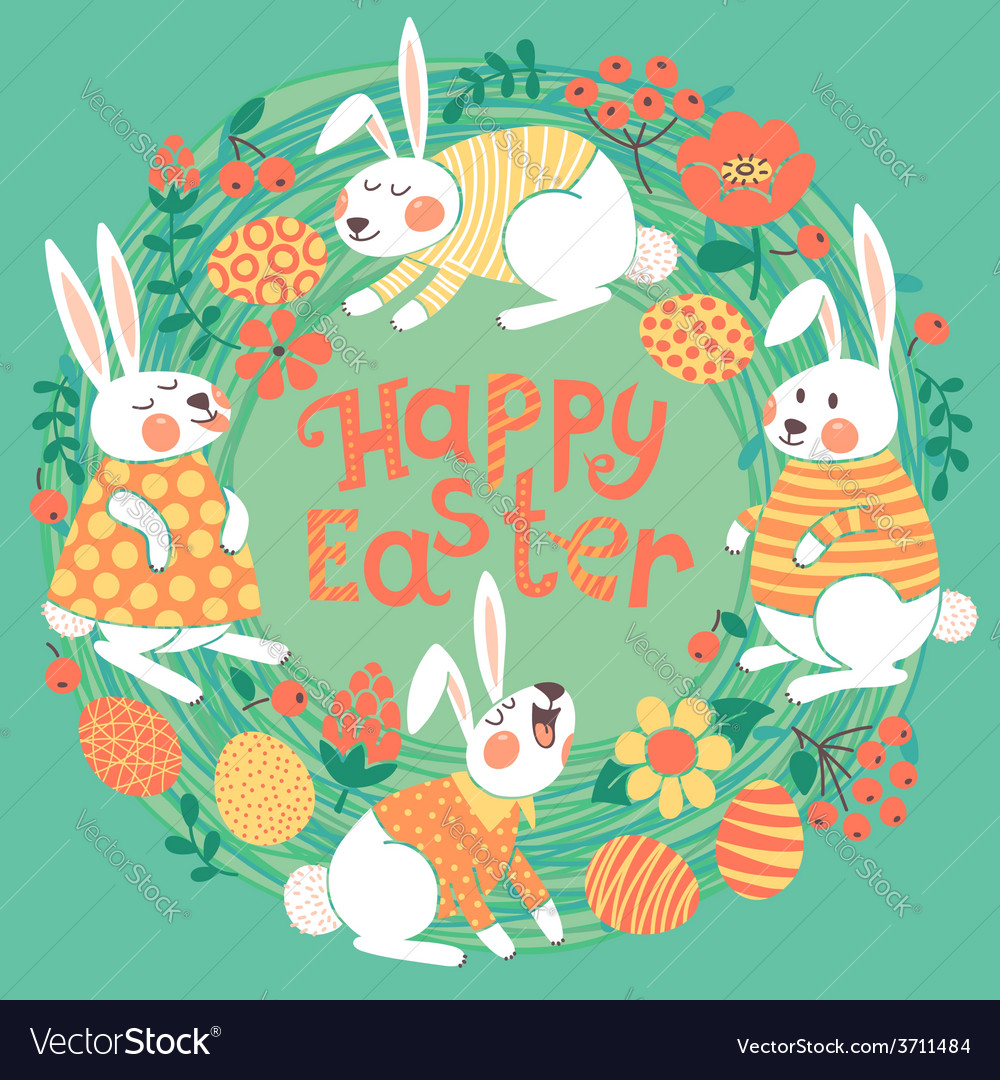 Happy Easter card with cute bunnies and colored