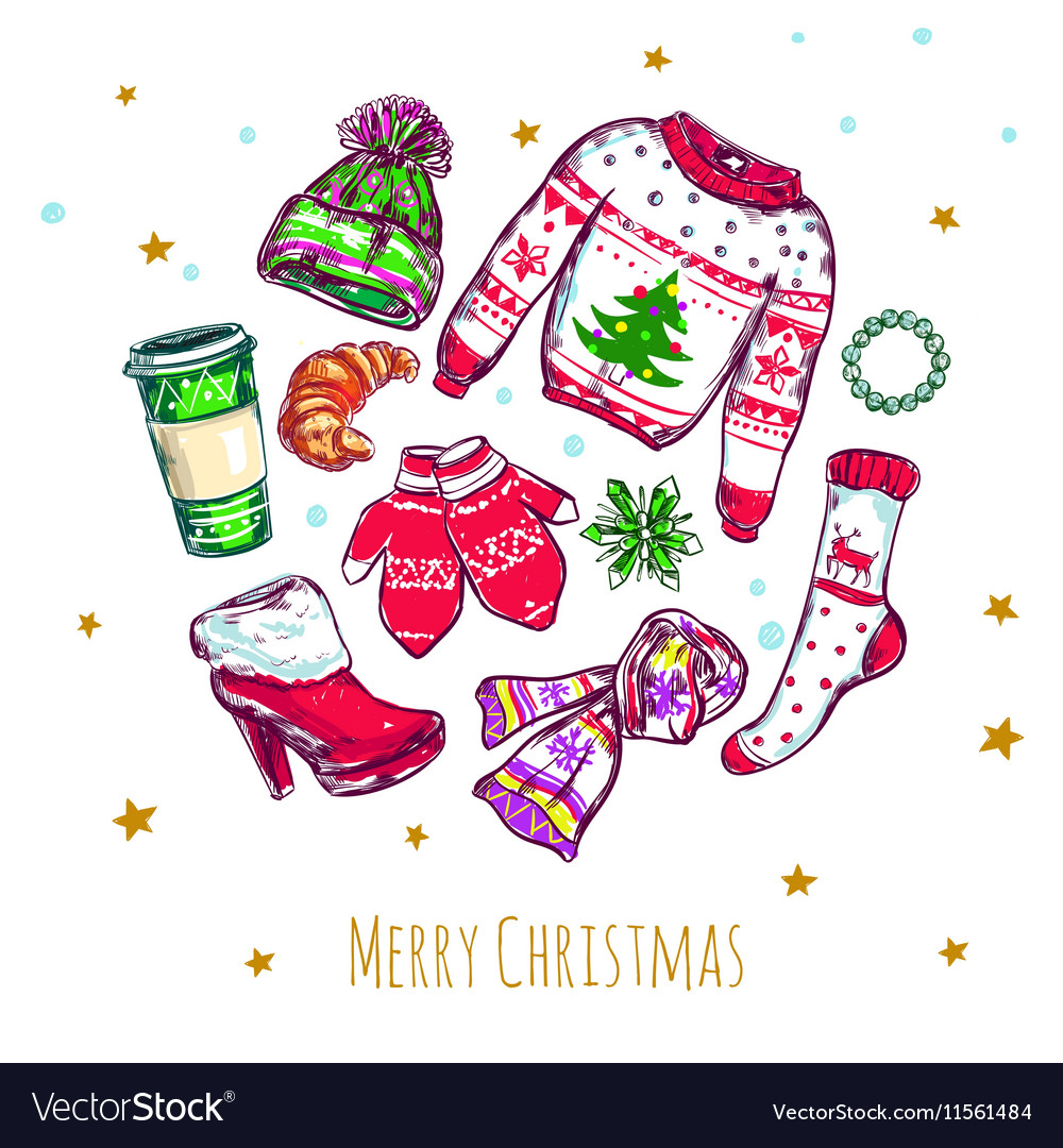 Merry Christmas Clothes Composition