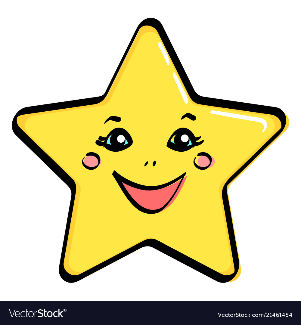 Object yellow star with a face