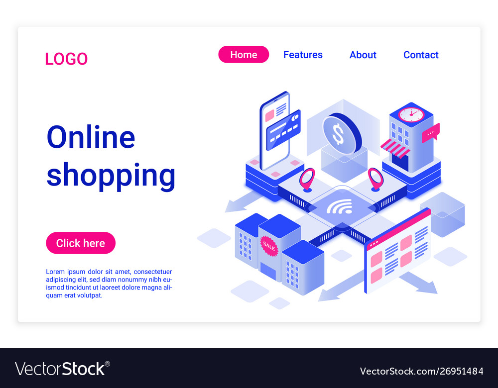 Online shopping isometric landing page template