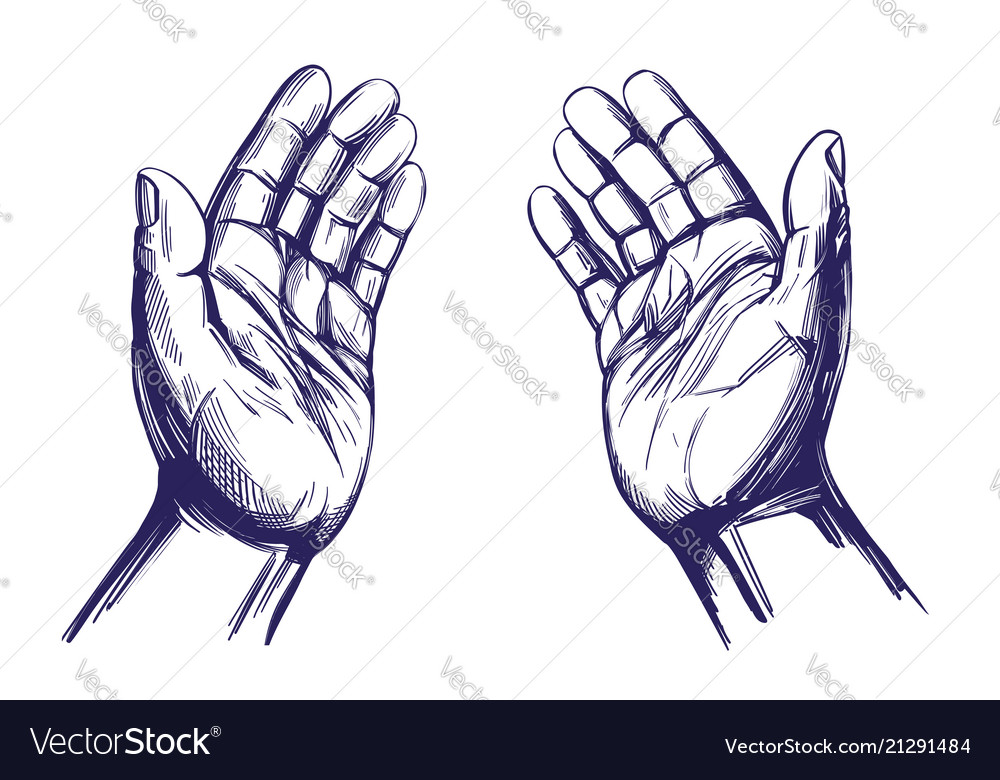 Praying hands symbol of christianity hand drawn