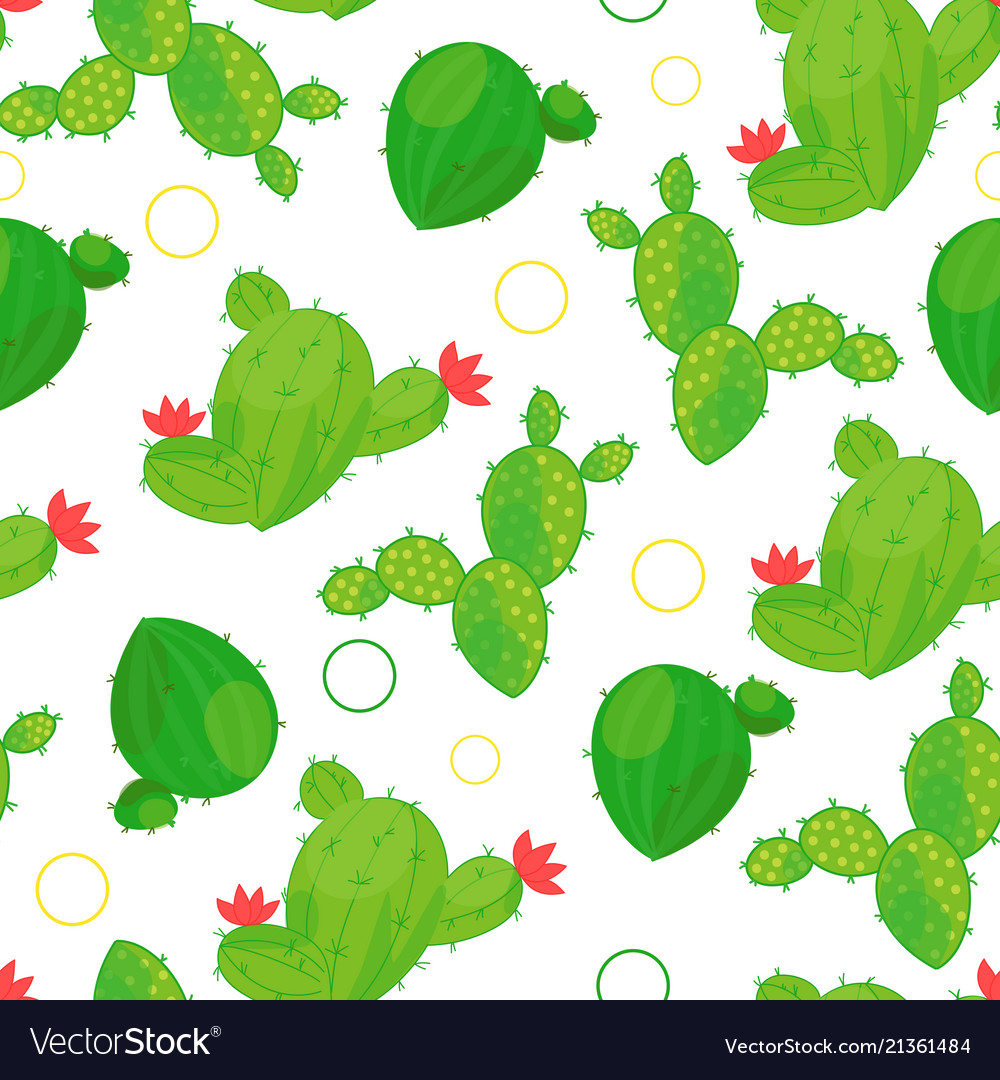 Seamless cactus pattern on light background