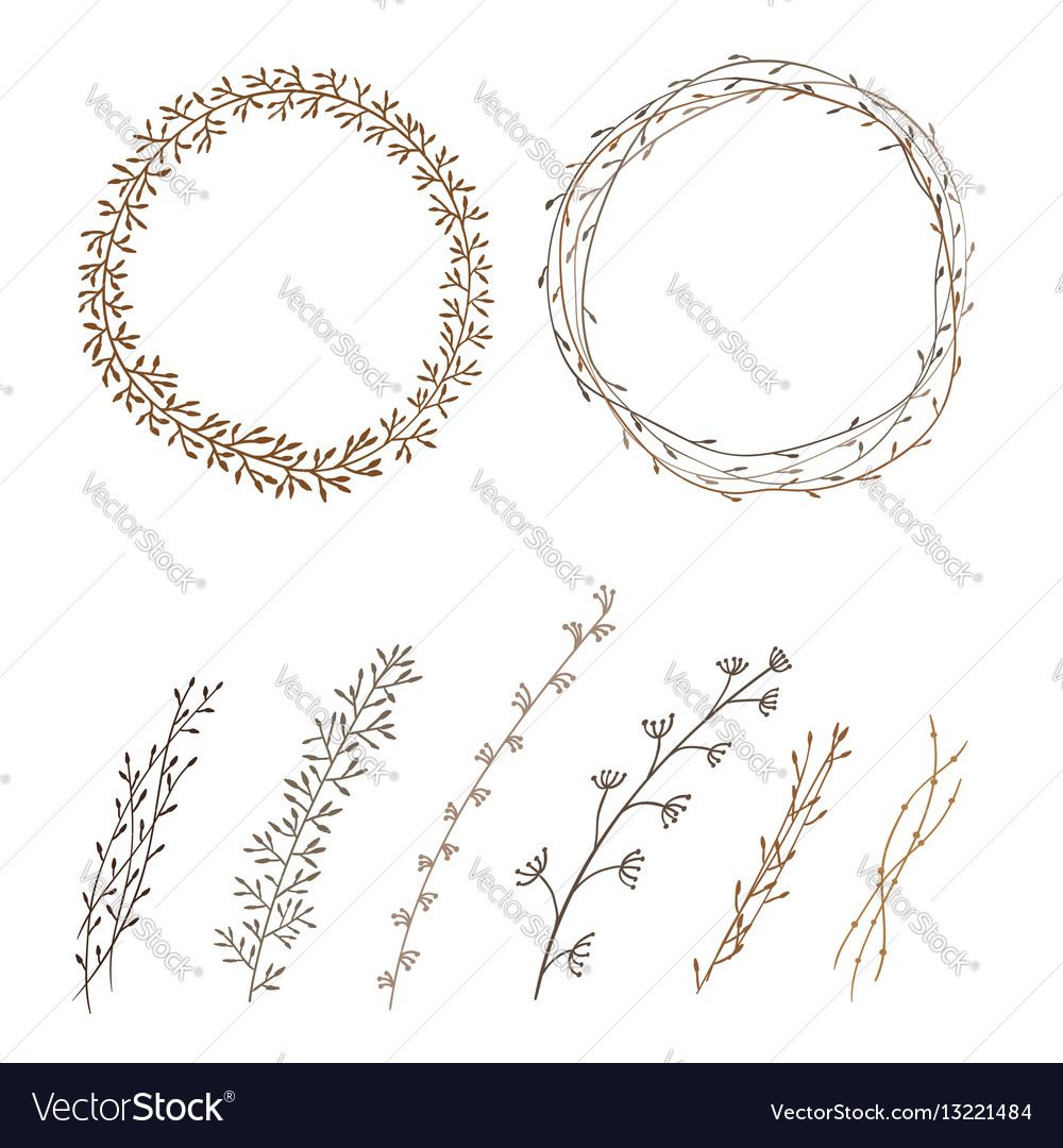 Set of decorative doodle wreaths made of branches