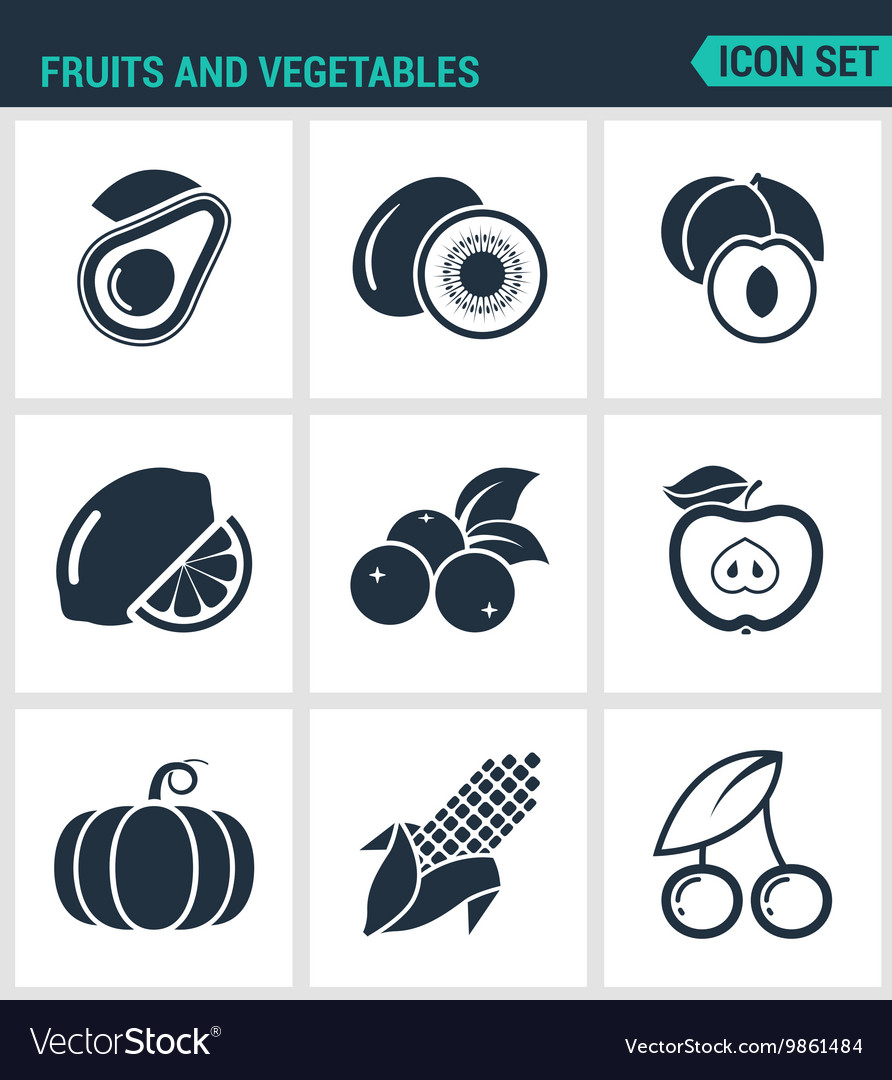 Set of modern icons Fruits and vegetables