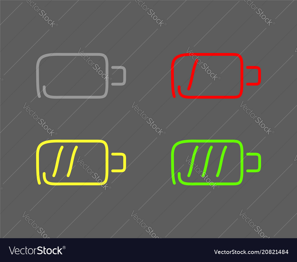Steps of charging battery set icons draw effect