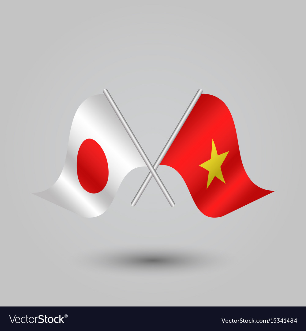 Two crossed japanese and vietnamese flags