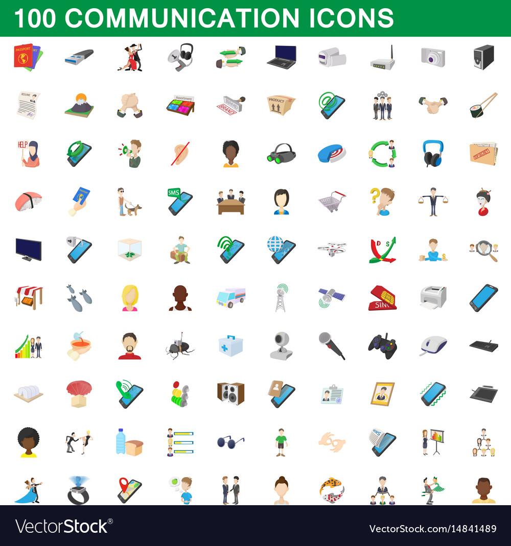 100 communication icons set cartoon style