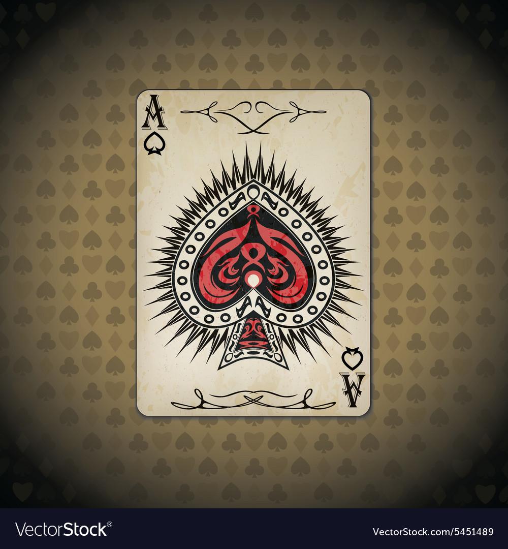 Ace of spades poker cards old look vintage
