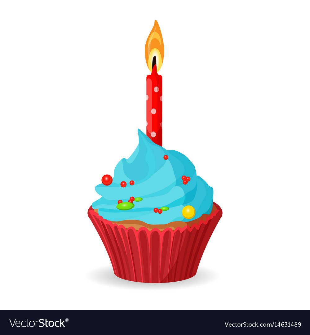 Terrific Birthday Cupcake With One Burning Candle Blue Vector Image Funny Birthday Cards Online Overcheapnameinfo