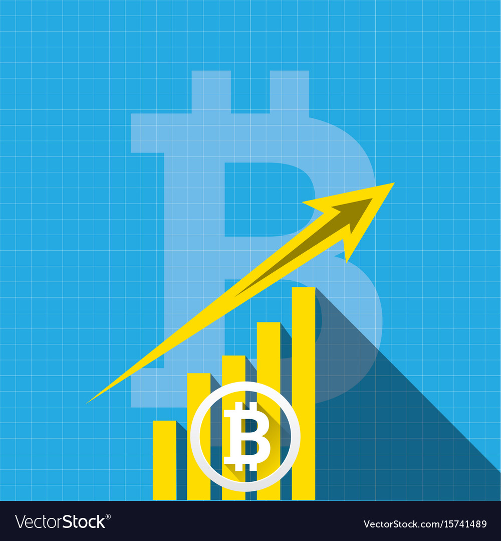 Bitcoin growth graph on blue background
