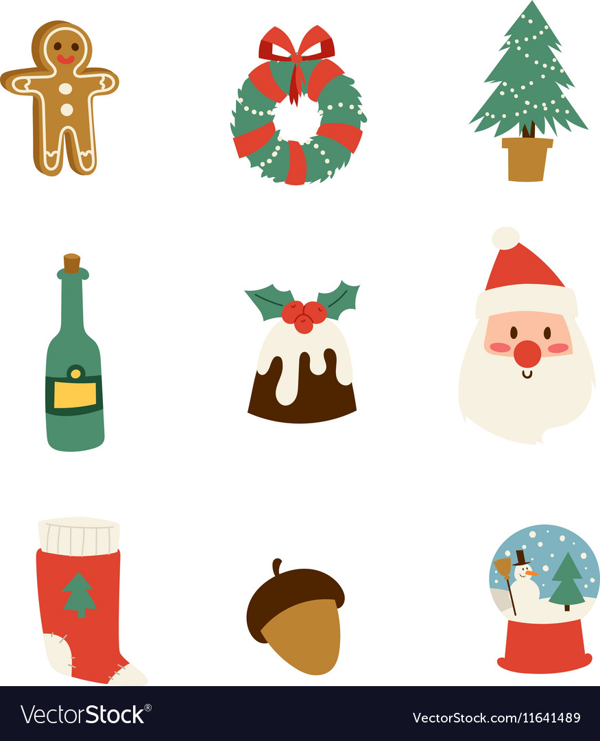 Christmas icons symbols set