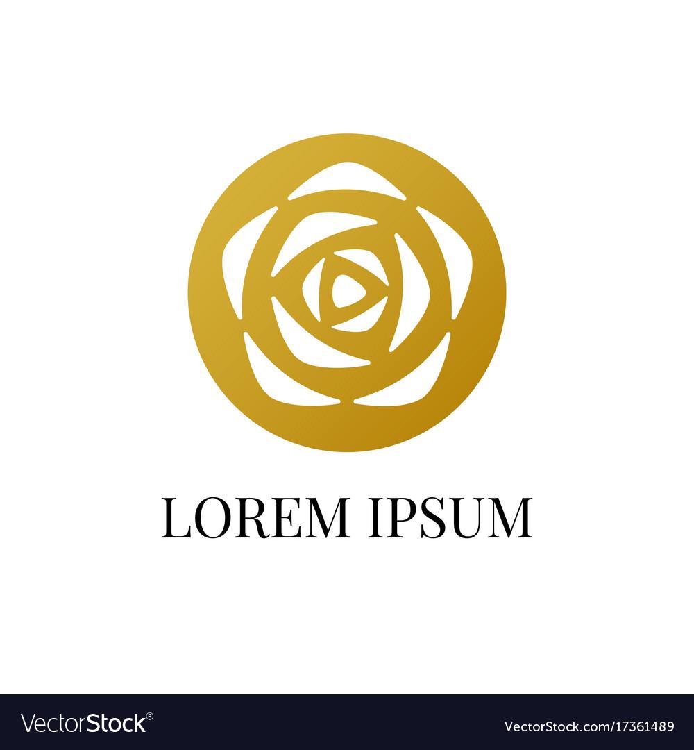 Gold circle with rose logo