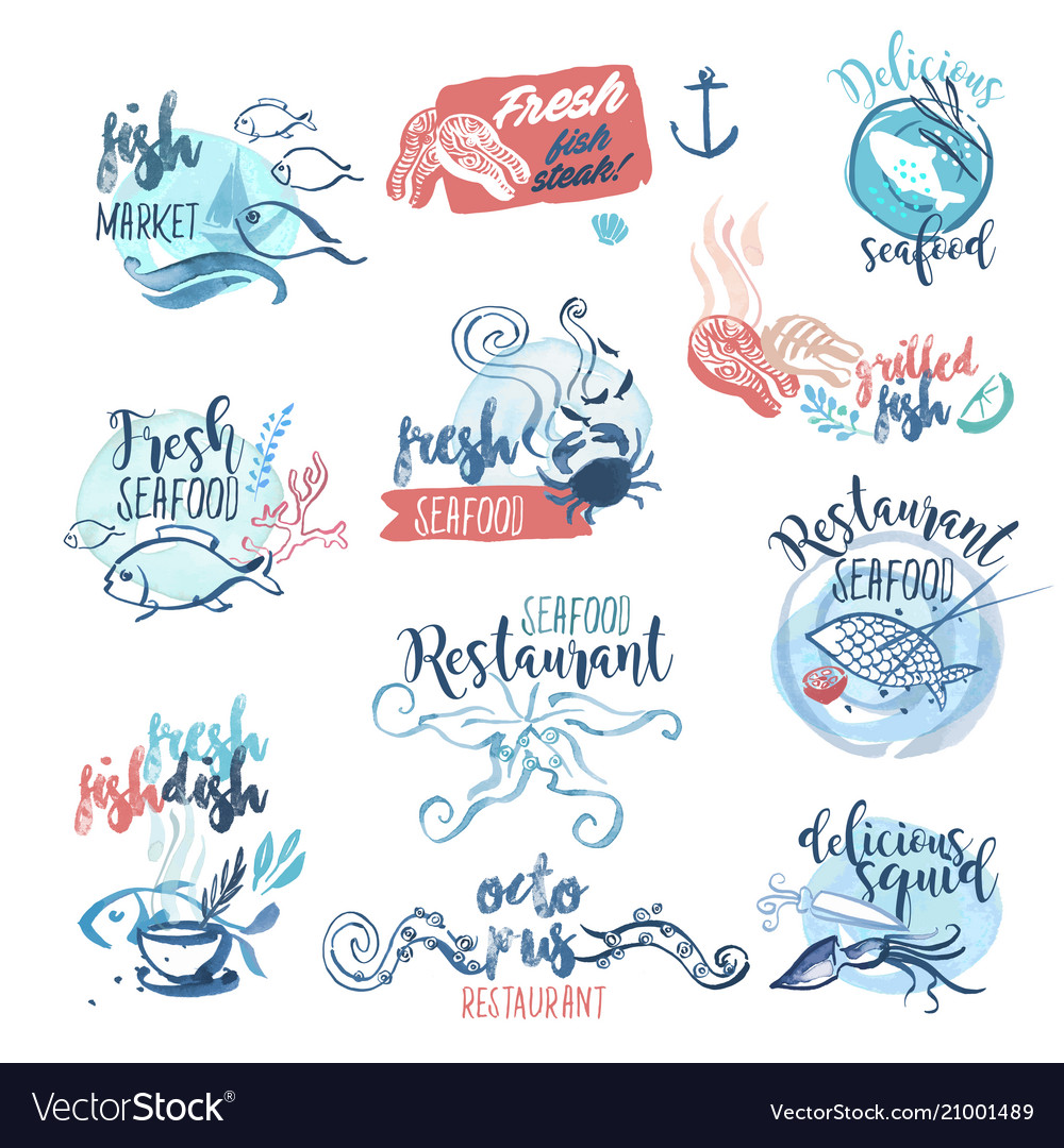 Hand drawn watercolor labels and signs of seafood