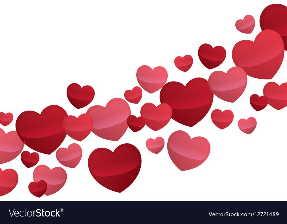 Hearts Love Flying Decorative Wallpaper Design Vector Image