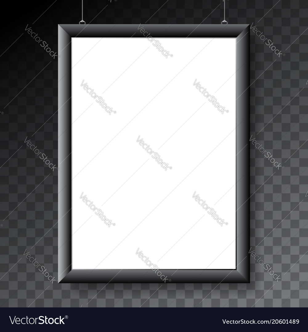 Poster mockup template with black metal