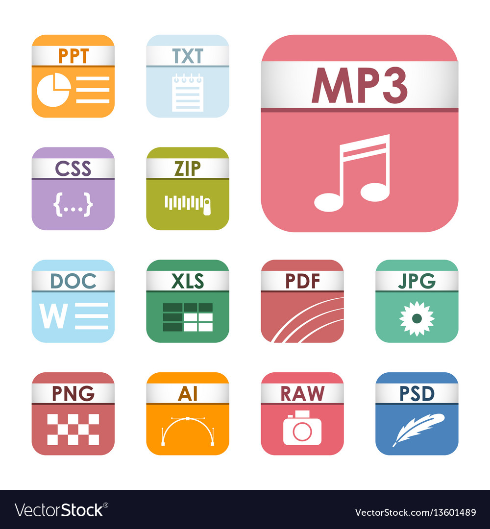 Simple square file types formats labels icon set