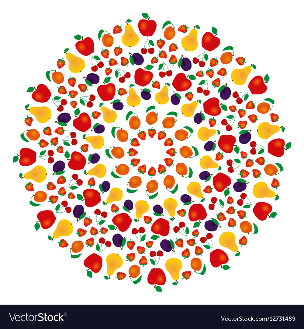 Summer fruity mandala coloring book colored