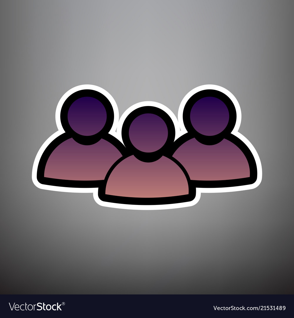 Team work sign violet gradient icon with