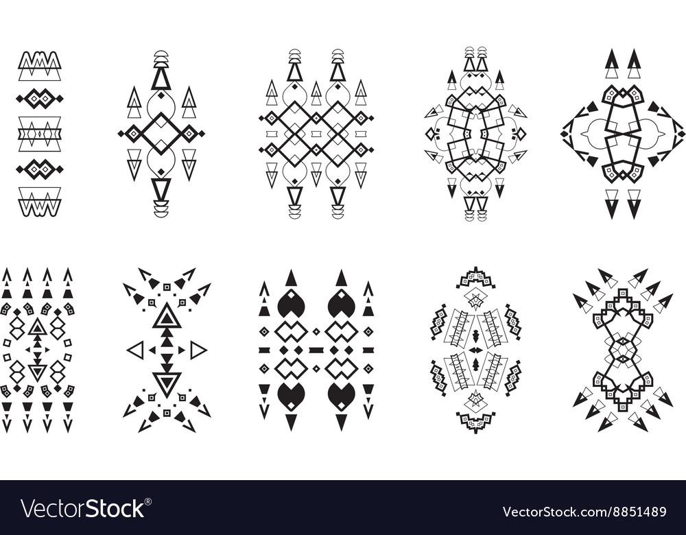 Tribal Elements Set Ethnic Collection Aztec Art