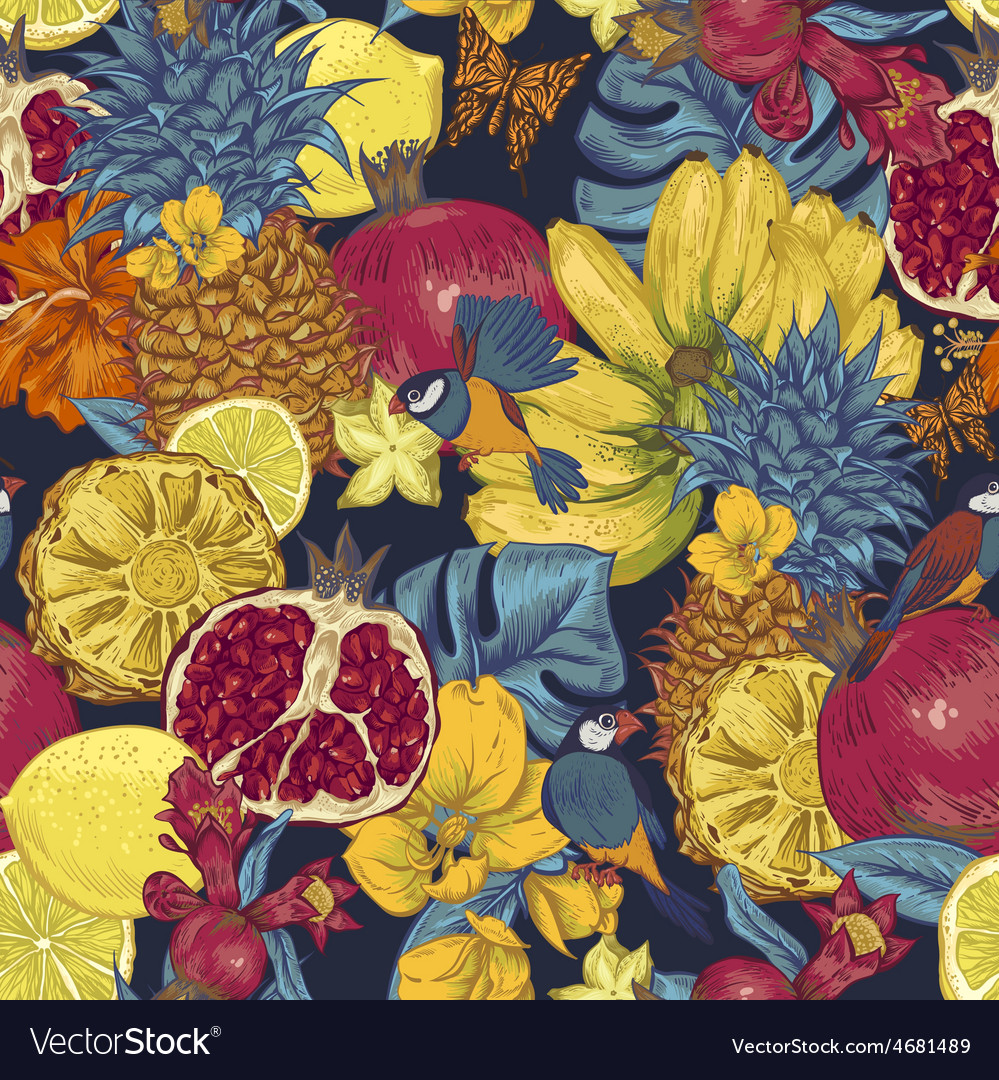 Vintage Seamless Background Tropical Fruit