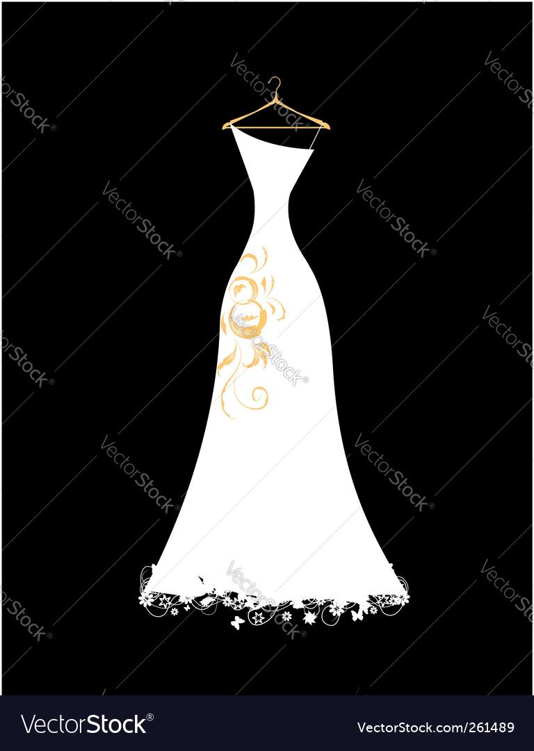 Wedding dress white on hangers Royalty Free Vector Image