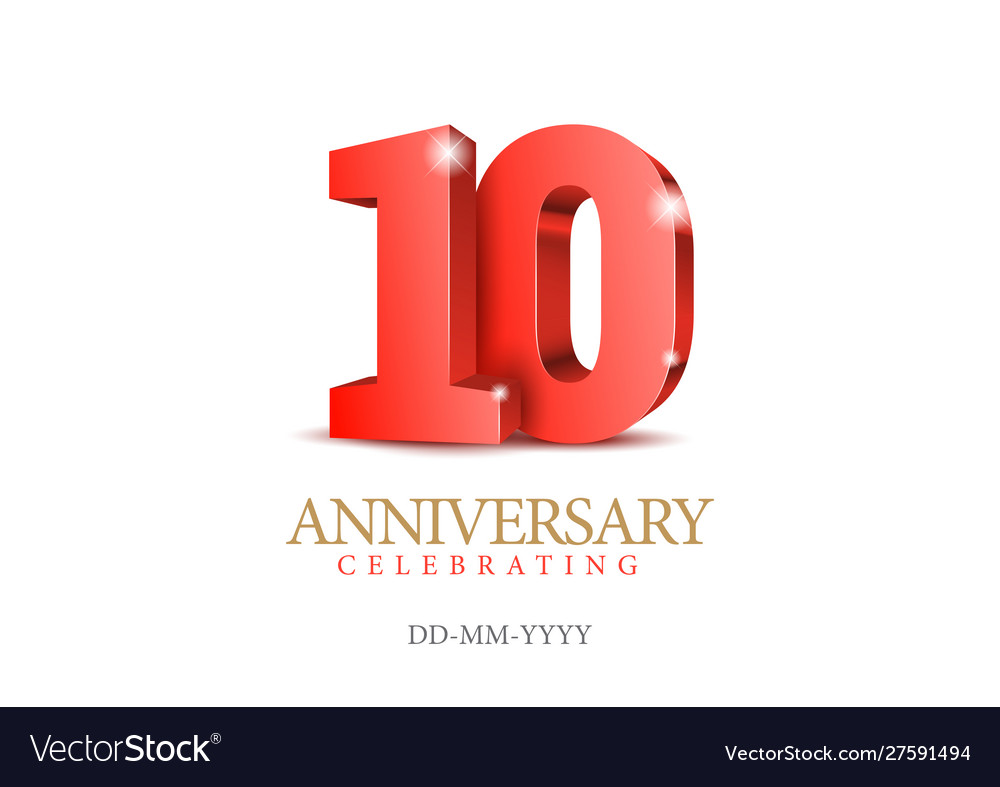 Anniversary 10 red 3d numbers