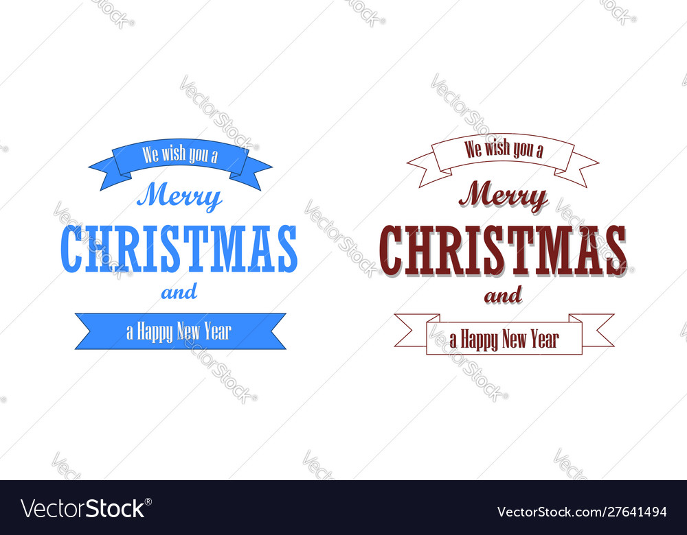 Christmas red blue text ribbon set merry