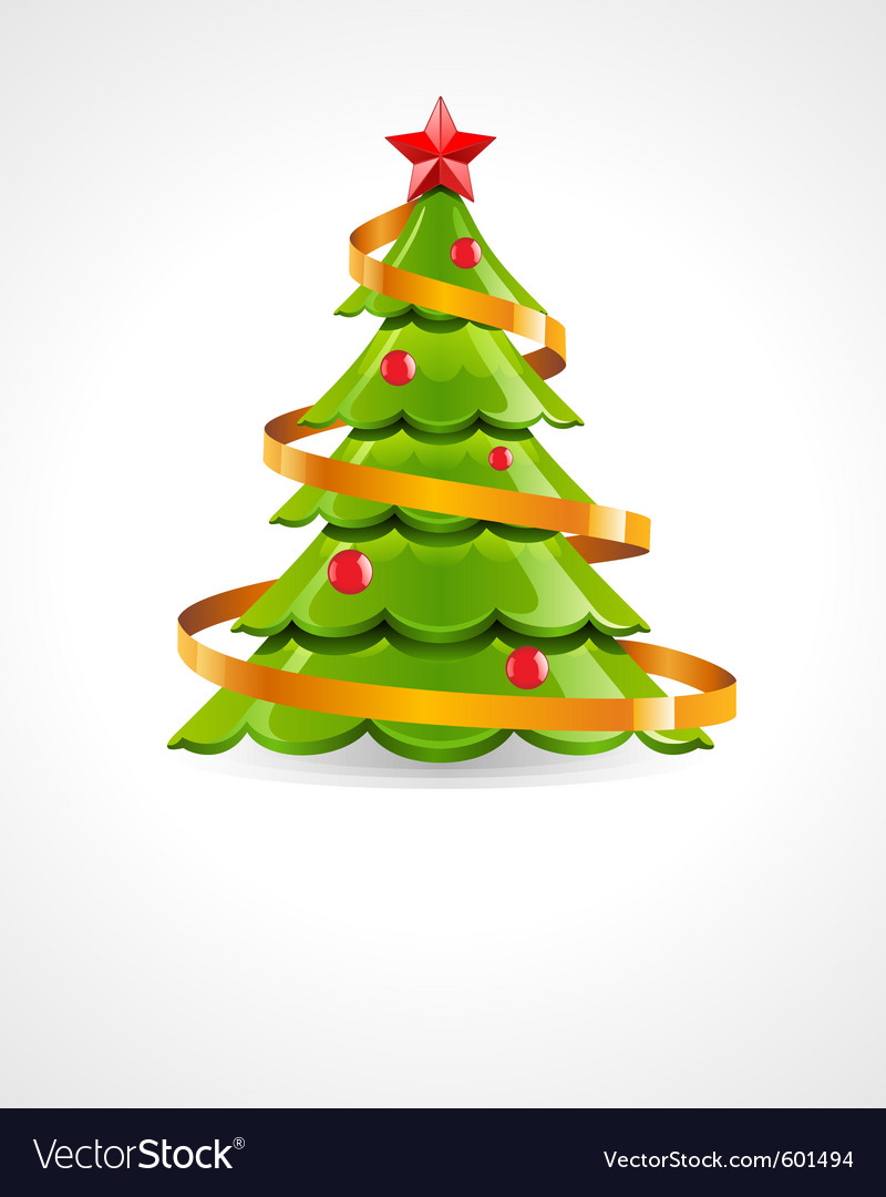 Christmas Tree With Red Star Royalty Free Vector Image