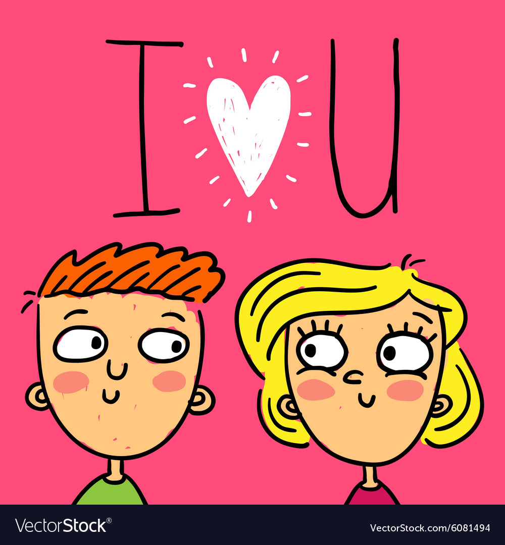 Cute doodle greeting card with happy couple vector image