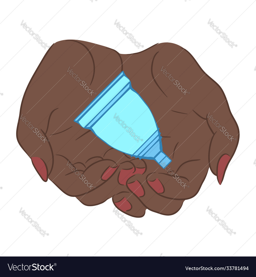 Female african hands hold menstrual cup