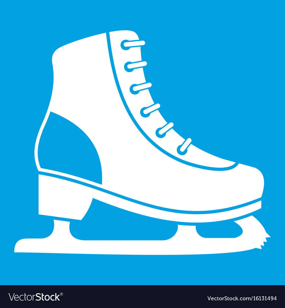 Ice Skate Icon White Royalty Free Vector Image