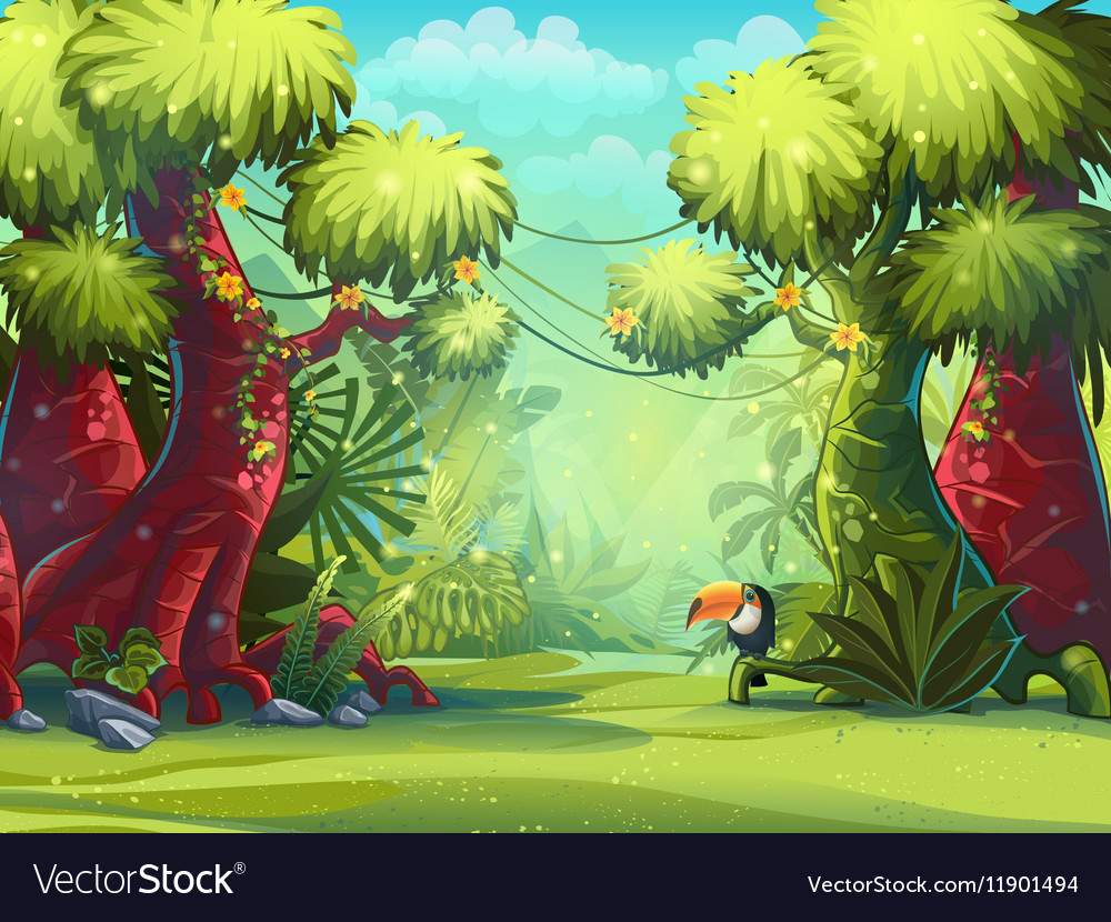 Jungle toucan trees and vector image