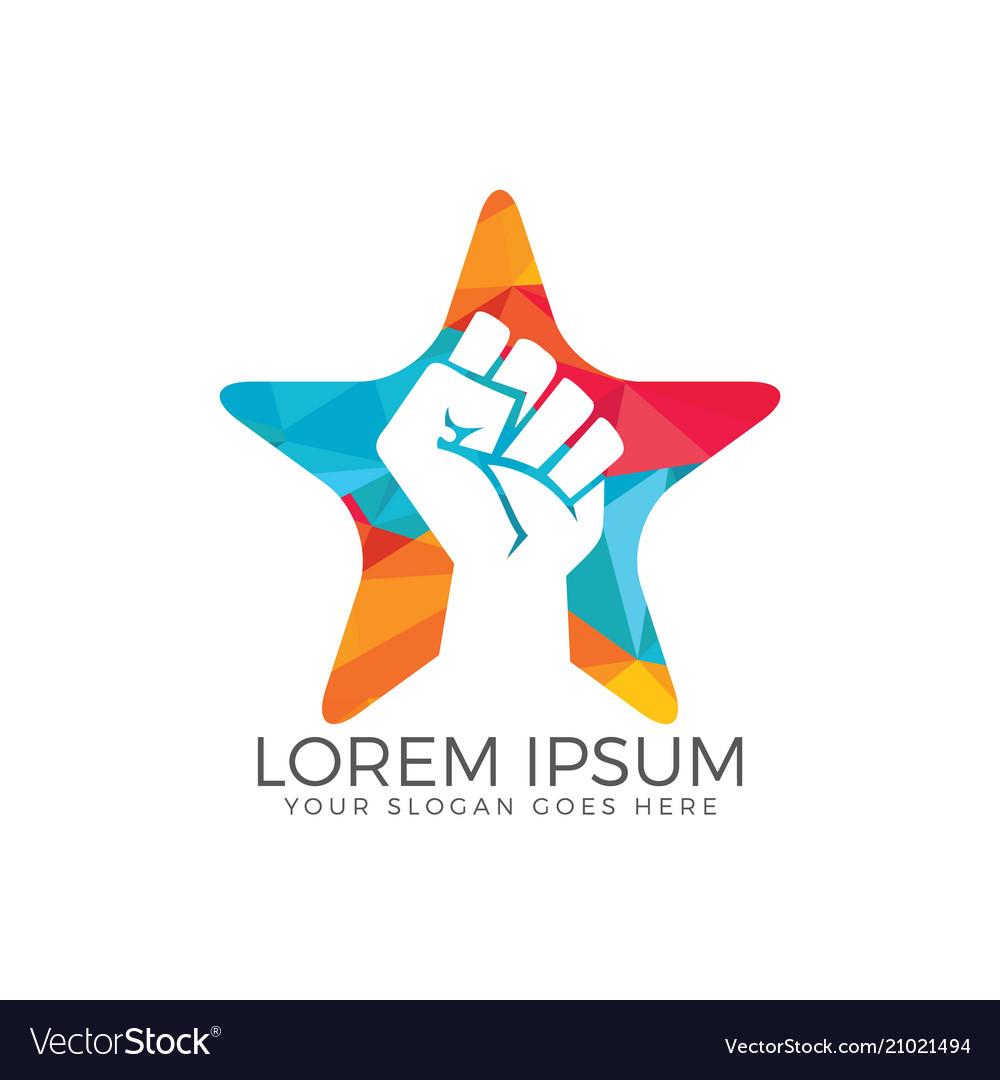 Power fist star shape abstract logo design