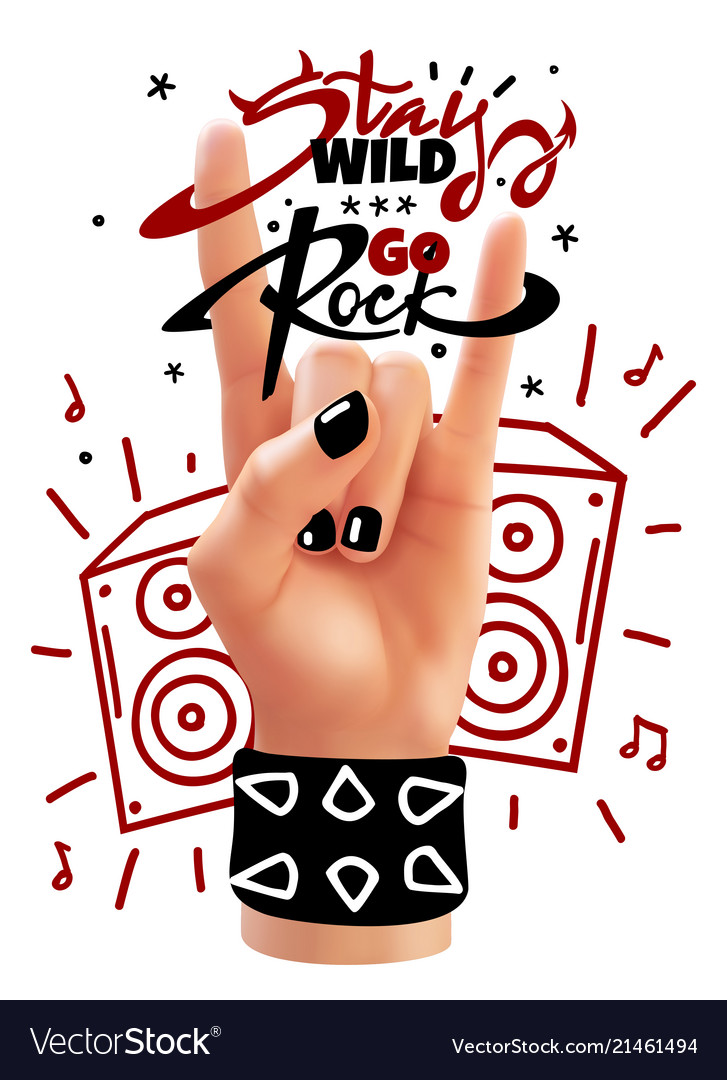 Rock hand poster