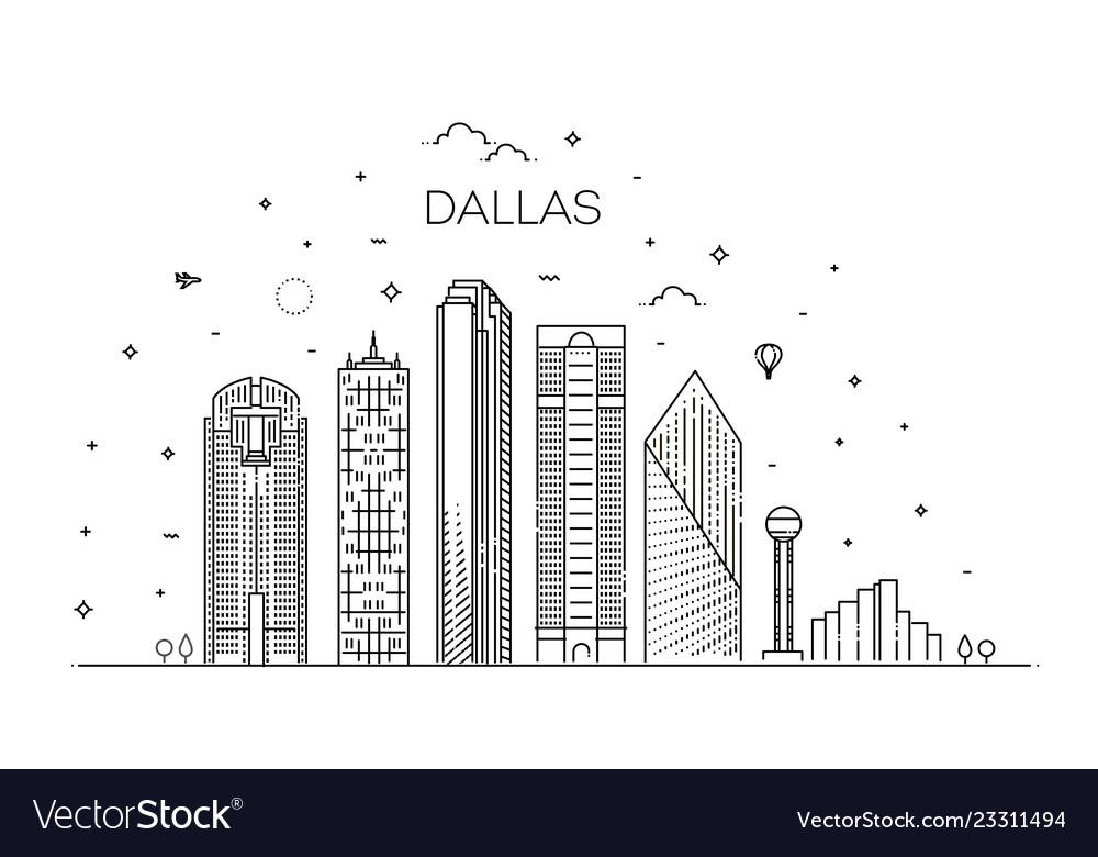 Texas dallas architecture line skyline