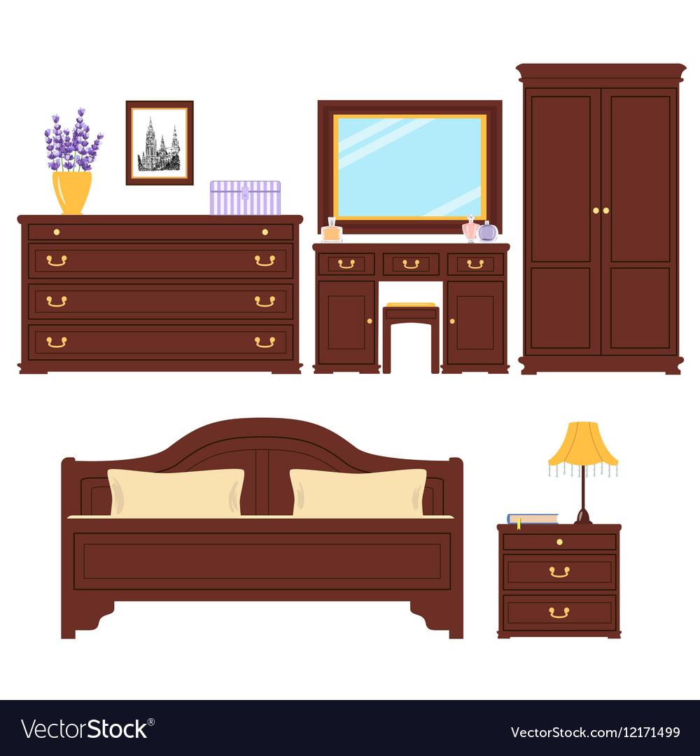 Bedroom Furniture Set Royalty Free Vector Image