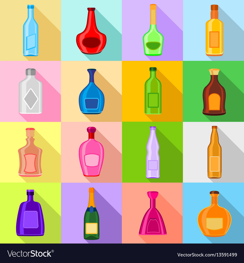 Bottles icons set flat style