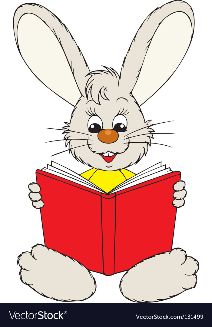 Bunny reading the red book vector image