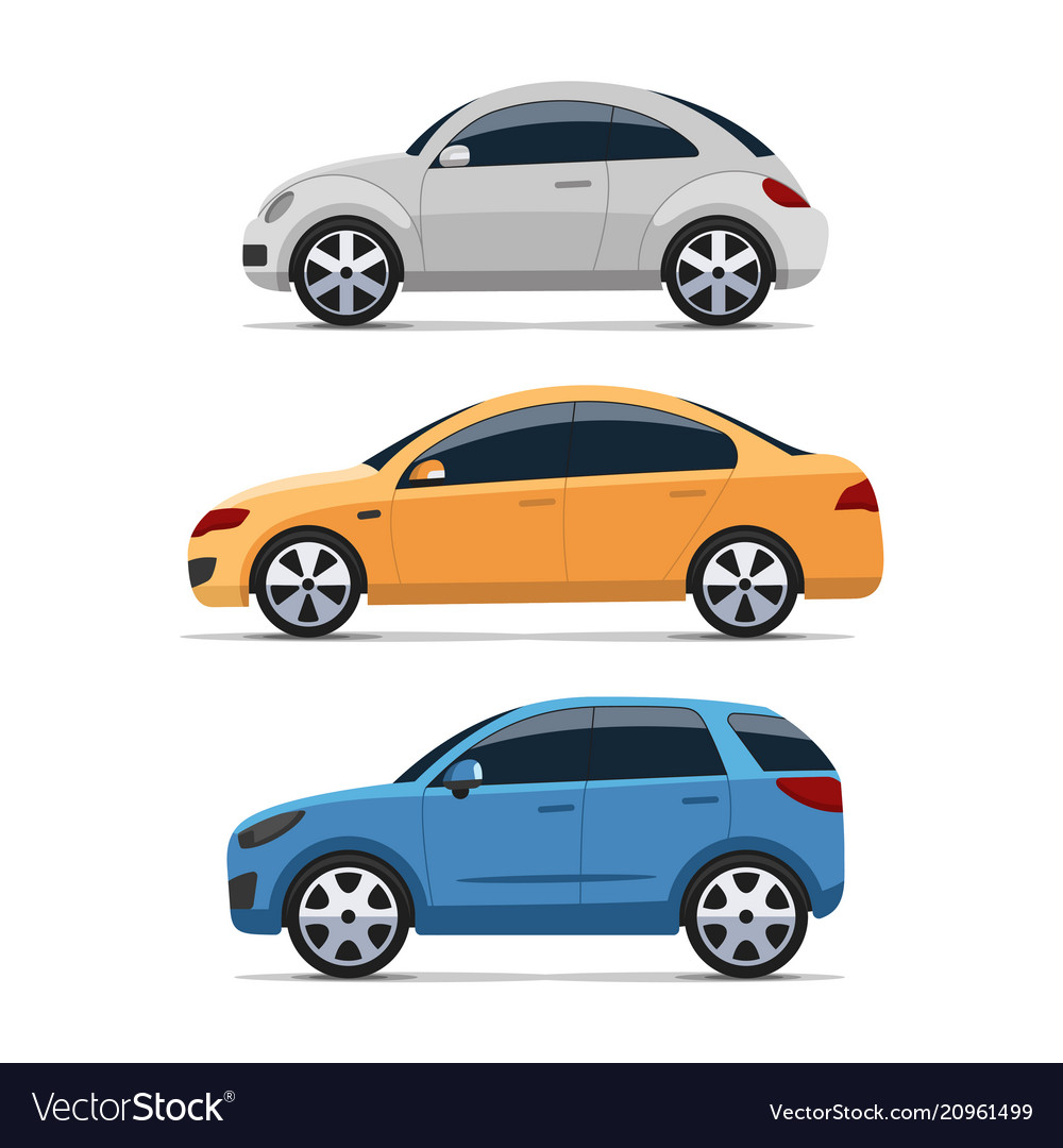 Car side view set colorful flat style