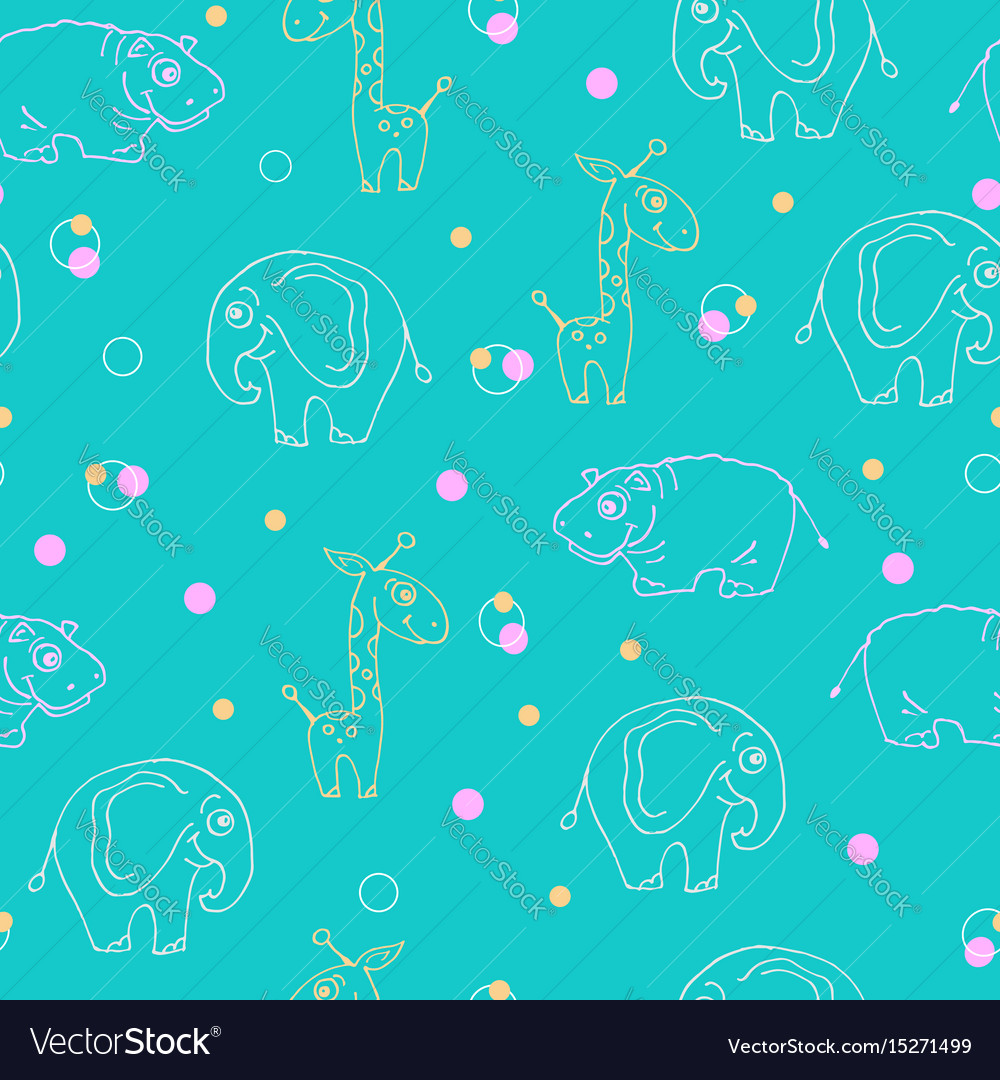 Endless pattern animals giraffe hippopotamus