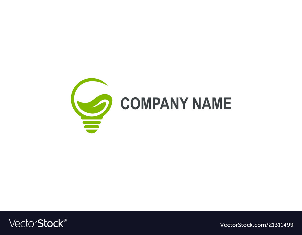 Green eco light bulb abstract company logo