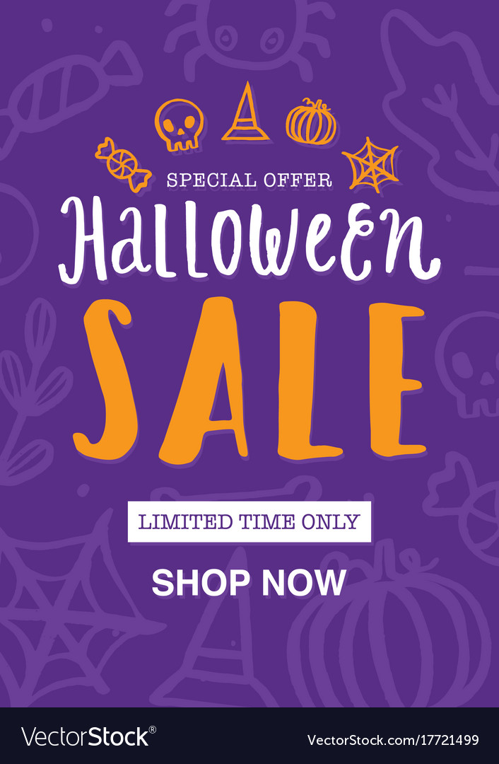 Halloween sale poster or flyer design