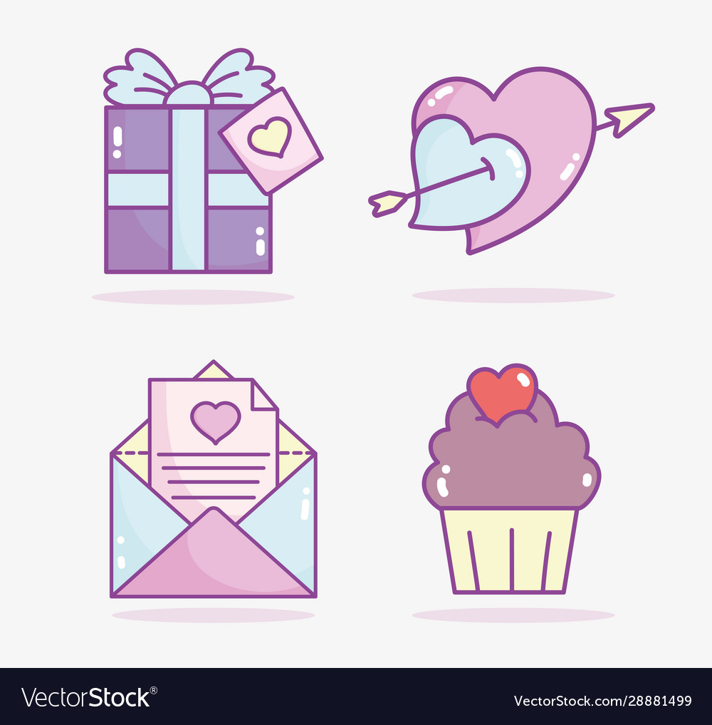 Happy valentines day gift box cupcake mail