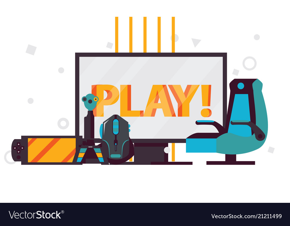 Scene With Word Play On Computer Monitor Vector Image